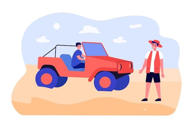 사막 투어에 자동차에 남자 여행자입니다. 차량에 아프리카 사바나를 여행하는 관광객. 여름 그룹 휴가. 야생 동물 예약, 휴일 개념입니다. 만화 벡터 평면 그림입니다.