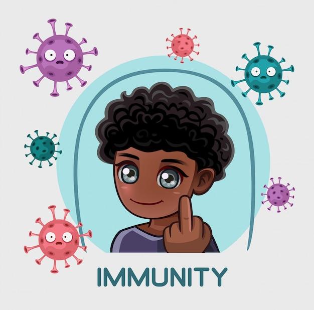 免疫の保護下にある男性は中指を示しています