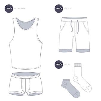 남성 속옷과 양말. 옷가는 선 스타일.