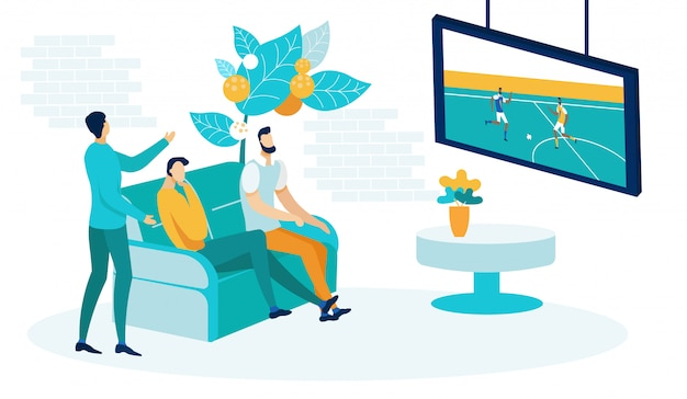 Men watching football game on tv flat illustration