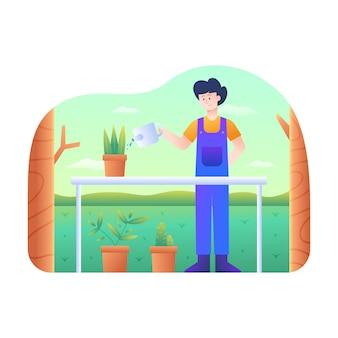 남자들은 정원의 식물에 물을 주었다