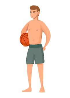 男性は緑の水着を着て、バスケットボールのボールを保持しますビーチショーツ漫画のキャラクターデザイン