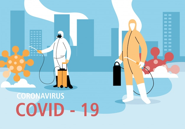 Men wear protective suit, cleaning and disinfection the city by coronavirus or covid 19