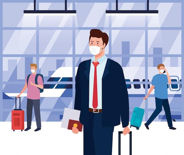 空港ターミナルで医療用保護マスクを着用した男性、コロナウイルスのパンデミック時に飛行機で旅行、予防covid 19