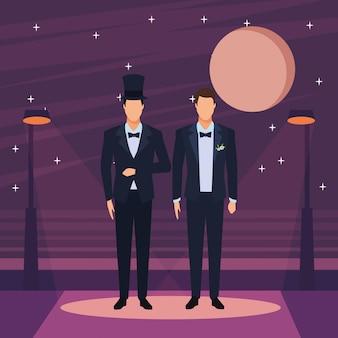 Men wearing tuxedo