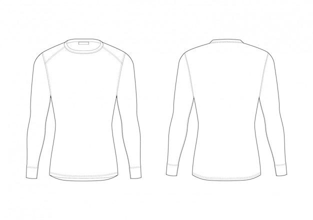 Мужское зимнее термобелье. пустая футболка с длинным рукавом. изолированное мужское одеяние предохранителя сыпи спорта. вид спереди и сзади.