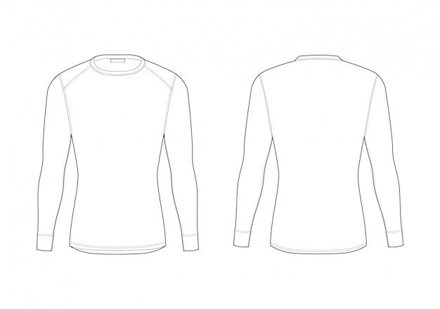 Men winter thermal underwear. blank long sleeve t-shirt. isolated male sport rash guard apparel. front and back views.