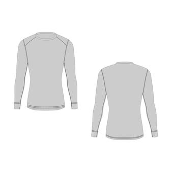 Мужское зимнее термобелье. изолированная мужская спортивная одежда защитника от сыпи. вид спереди и сзади. пустые шаблоны футболки с длинным рукавом. пример технической иллюстрации.