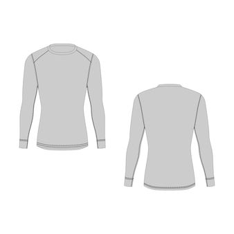 Men winter thermal underwear. isolated male sport rash guard apparel. front and back views. blank templates of long sleeve t-shirt. sample technical illustration.
