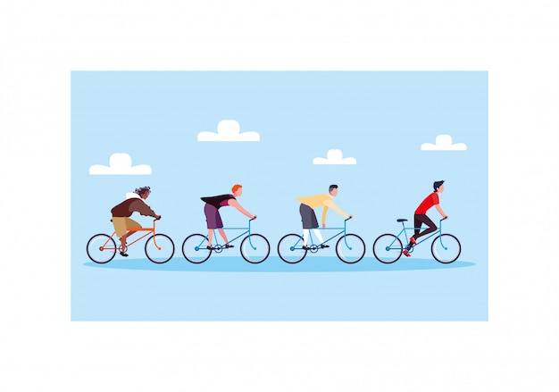 Men with bicycle, men with healthy lifestyle