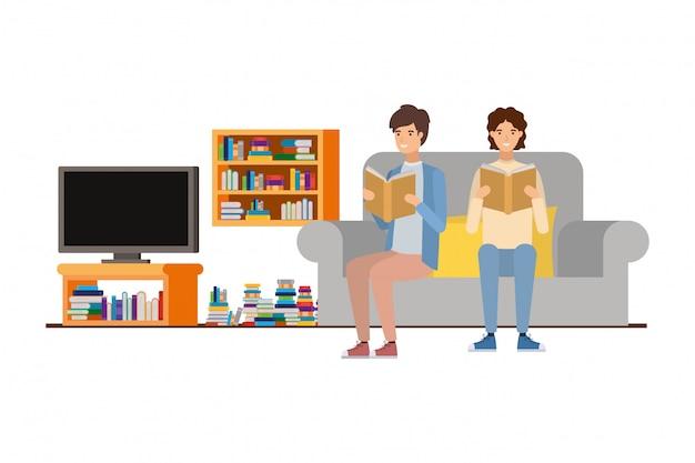 Men with book in hands in living room