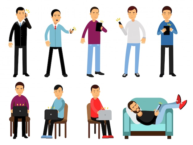 Men with different devices set, people using electronic gadgets in different situations cartoon   illustrations