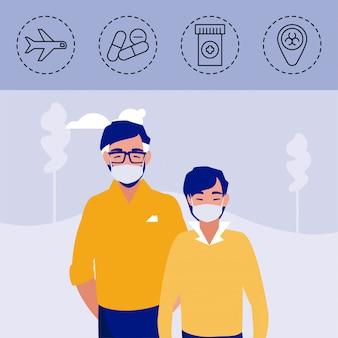 コロナウイルス保護と症状のアイコンを持つ男性
