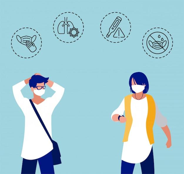 Мужчины с иконами защиты от коронавируса и симптомов
