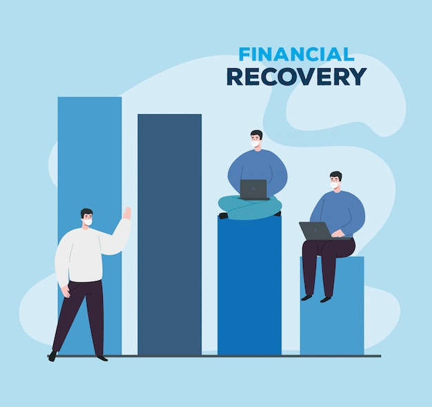 Men with infographic of financial recovery