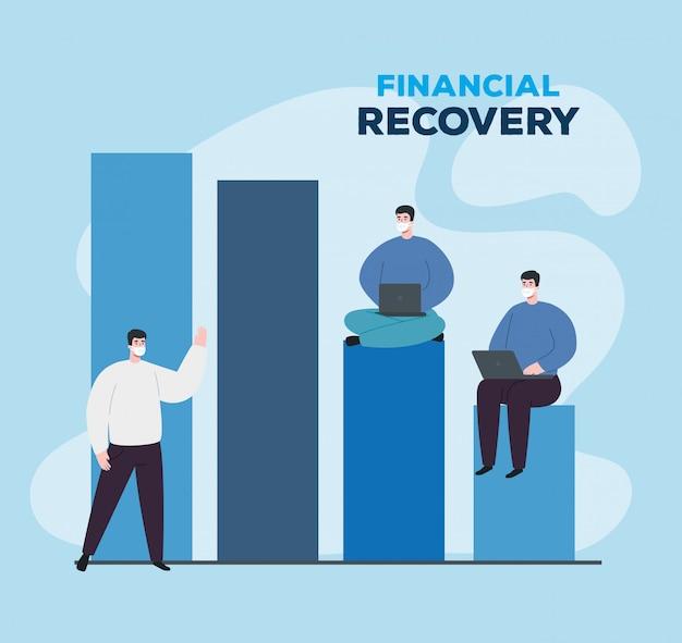 経済回復のインフォグラフィックを持つ男性