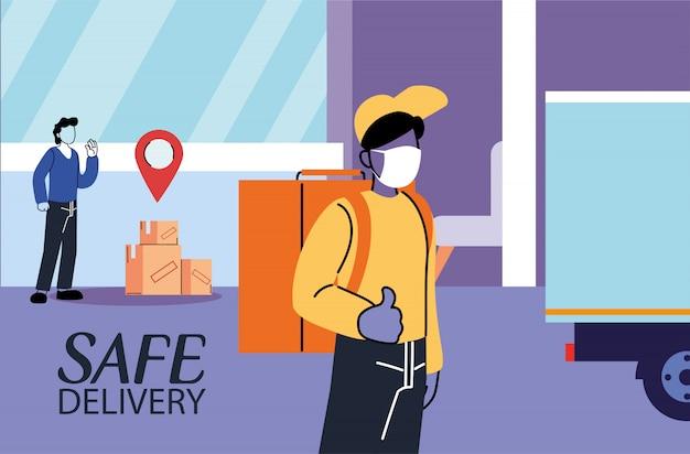Мужчины в масках доставляют и получают безопасный пакет