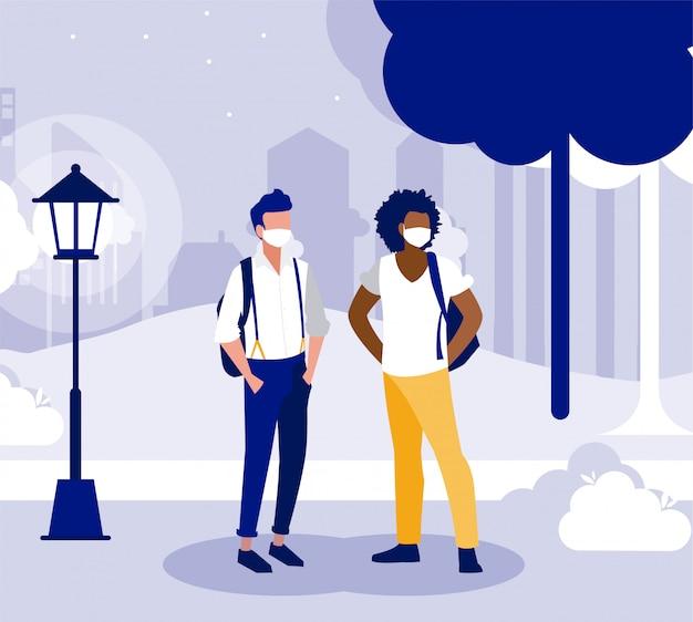 Men with masks outside at park vector design