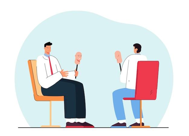 Uomini con maschere seduti uno di fronte all'altro. illustrazione piatta