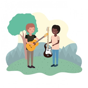 Men with musical instruments in landscape