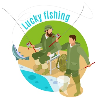 Men with spinning rods and haul during lucky fishing on round