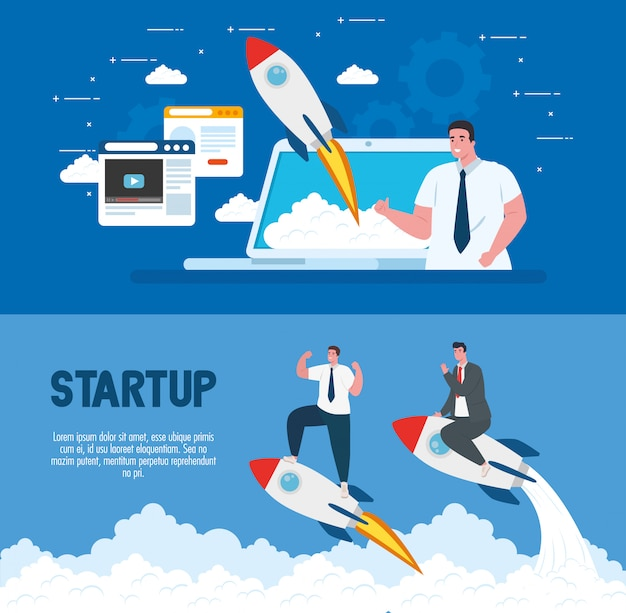 Men with start up rockets and laptop vector design