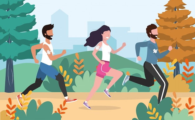 Men and woman running practice exercise activity