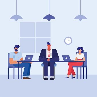 Men and woman with laptops at desk in the office design, business objects workforce and corporate theme