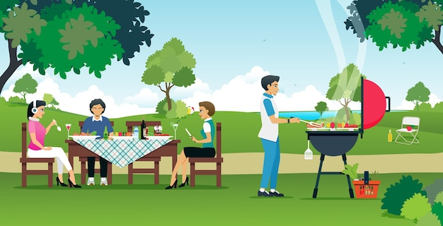 Men and women are enjoying a barbecue party