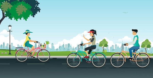 Men and women are riding bicycles in gardens with city backdrops