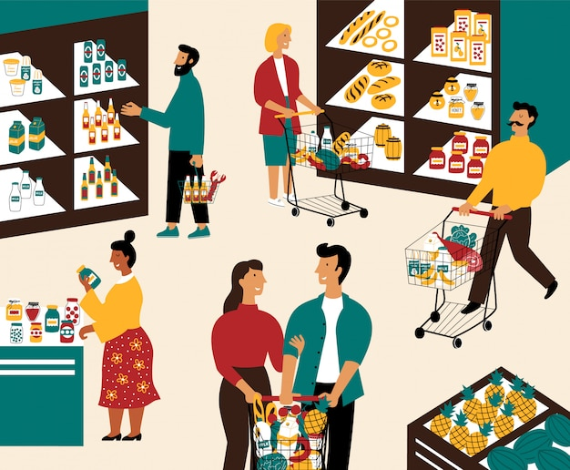 Men and women buying products at grocery store.