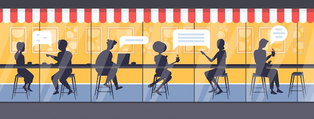 Men women cafe visitors chat bubble communication speech conversation concept people silhouettes sitting at counter desk drinking coffee modern street cafe exterior full length horizontal