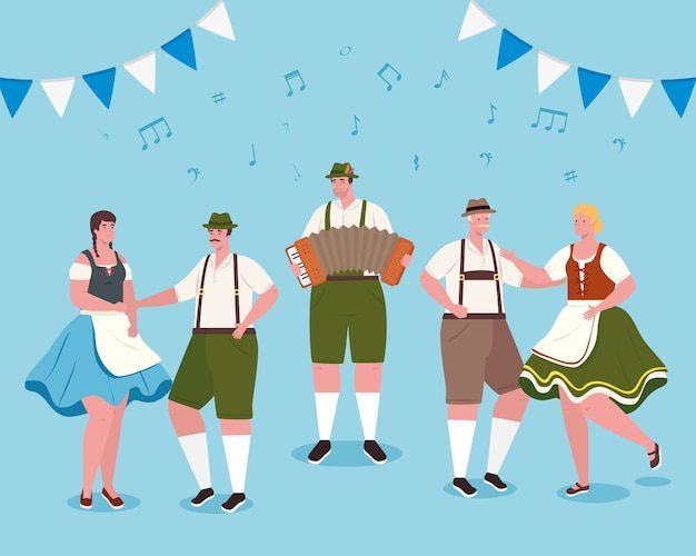Men and women cartoons with traditional cloth dancing design, oktoberfest germany festival and celebration theme