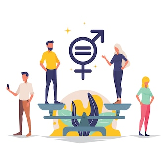 Men and women character on the scales for gender equality illustration