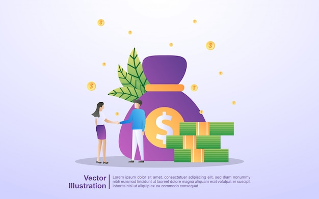 Men and women cooperation, business investment, get profits from business, cooperation and teamwork. Premium Vector