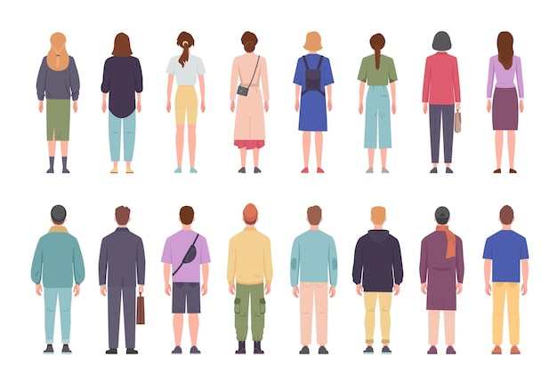 Men and women in different clothes standing with their backs set
