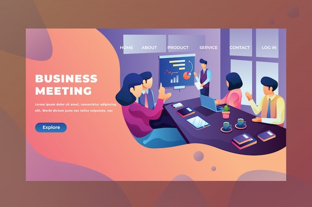 Men and women discuss their project of business meeting web page header landing page
