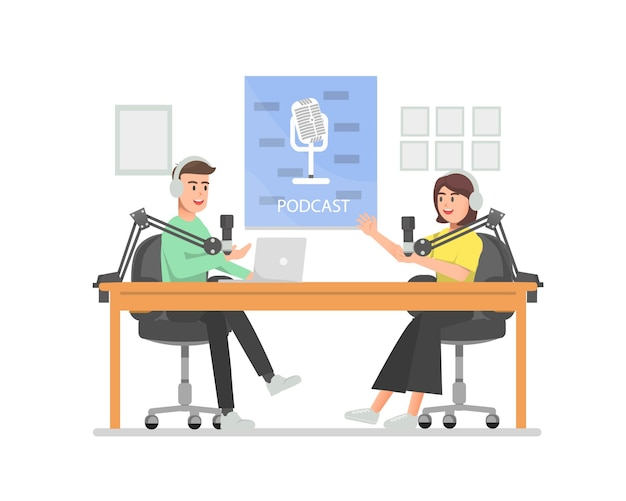 Men and women discussing on the podcast