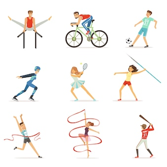 Men and women doing various kinds of sports, sport people colorful  illustrations