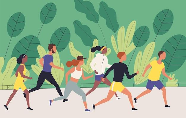 Men and women dressed in sportswear jogging or running through park.