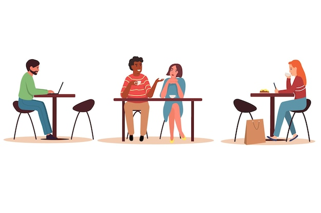 Men and women drink coffee or tea, talk, work on a laptop and phone. flat vector illustration on a white isolated background.