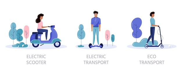 Men and women drive eco city transportation in public park city concept. personal electric transport, green electro scooter, hoverboard, gyroscooter, unicycle and bike. ecological vehicle set