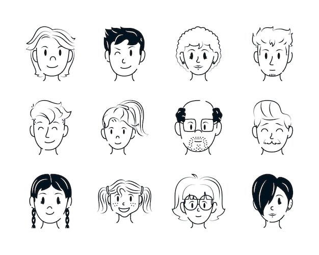 Men and women faces collection