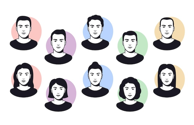 Men and women faces with different hairstyles, head, avatar illustrations