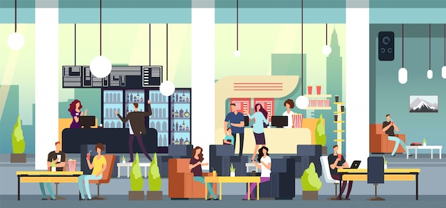Men and women at food court vector illustration