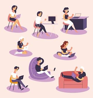 Men and women freelancers working