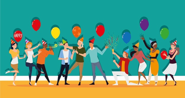 Men and women fun in party with balloons and confetti