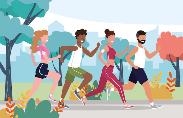Men and women health exercise and running activity