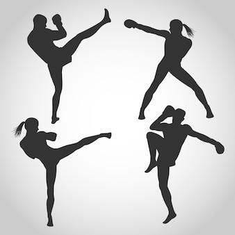 Men and women kickboxing silhouette