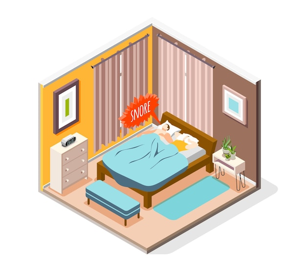 Men women living together problems isometric composition with couple in bed snoring husband suffering wife